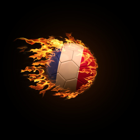 A soccer ball with the flag of France burning with fire flies on a black background 3d render