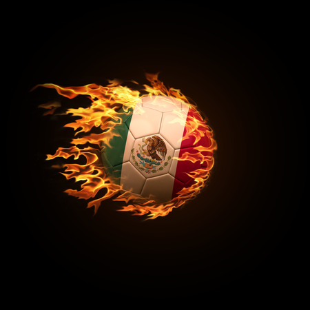 A soccer ball with the flag of Mexico burning with fire flies on a black background 3d render Stock Photo