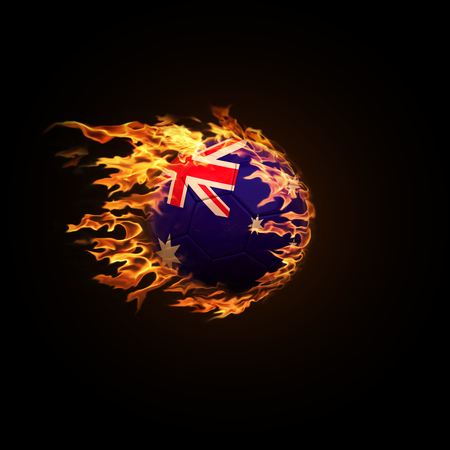 A soccer ball with the flag of Australia burning with fire flies on a black background 3d render