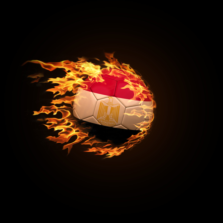A soccer ball with the flag of Egypt burning with fire flies on a black background 3d render