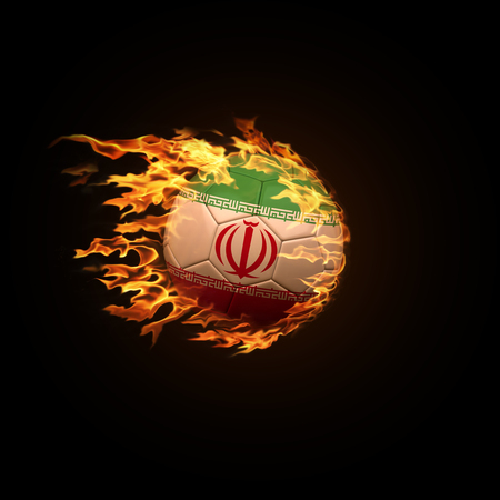 A soccer ball with the flag of Iran burning with fire flies on a black background 3d render