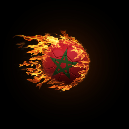 A soccer ball with the flag of Morocco burning with fire flies on a black background 3d render