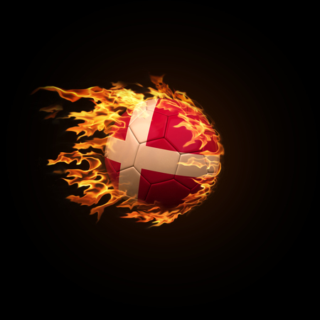 A soccer ball with the flag of Denmark burning with fire flies on a black background 3d render
