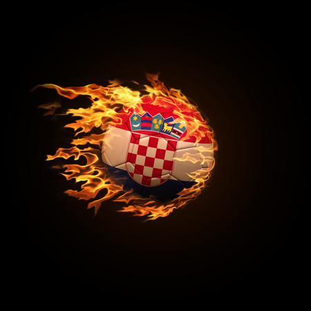 A soccer ball with the flag of Croatia burning with fire flies on a black background 3d render