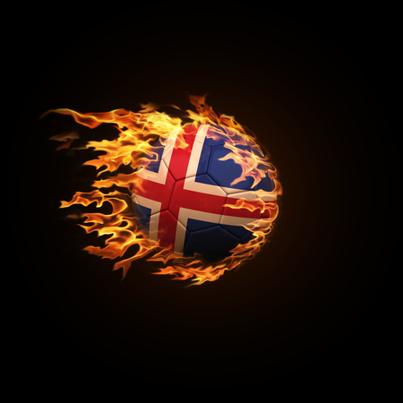A soccer ball with the flag of Iceland burning with fire flies on a black background 3d render