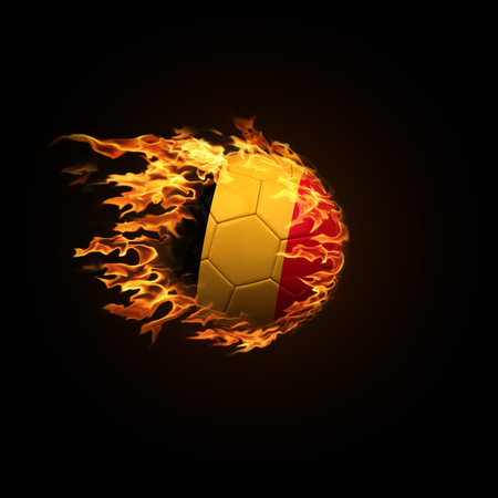 A soccer ball with the flag of Belgium burning with fire flies on a black background 3d render Stock Photo