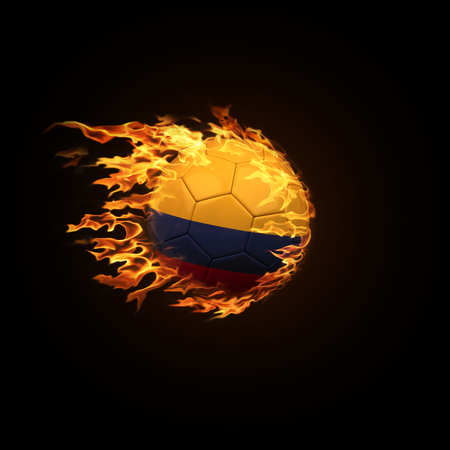 A soccer ball with the flag of Senegal burning with fire flies on a black background 3d render