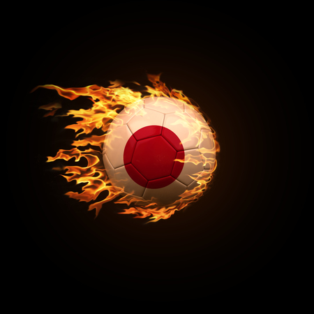A soccer ball with the flag of Japan burning with fire flies on a black background 3d render