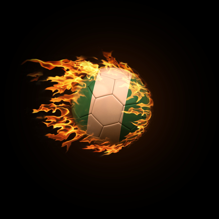 A soccer ball with the flag of Nigeria burning with fire flies on a black background 3d render