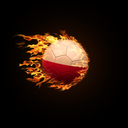 A soccer ball with the flag of Poland burning with fire flies on a black background 3d render