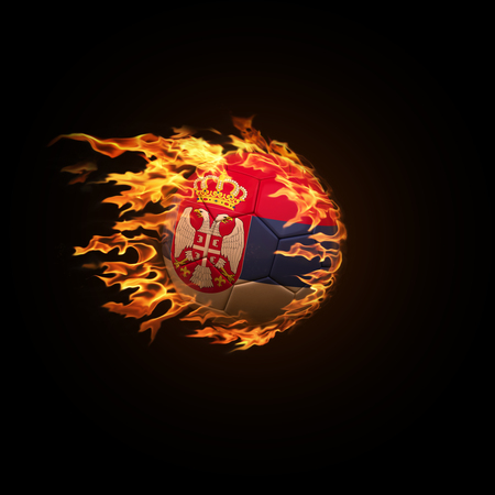 A soccer ball with the flag of Serbia burning with fire flies on a black background 3d render