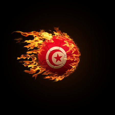 A soccer ball with the flag of Tunisia burning with fire flies on a black background 3d render