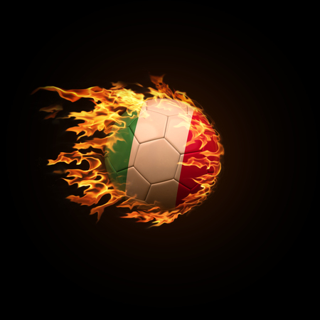 A soccer ball with the flag of Italy burning with fire flies on a black background 3d render