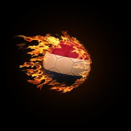 A soccer ball with the flag of Netherlands burning with fire flies on a black background 3d render 스톡 콘텐츠