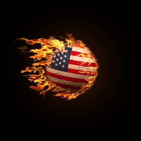 A soccer ball with the flag of United States of America burning with fire flies on a black background 3d render