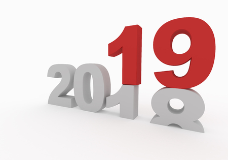 2018 is replaced by a new 2019 year isolated on white 3d render illustration