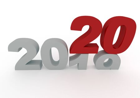 2019 is replaced by a new 2020 year isolated on white 3d render illustration 스톡 콘텐츠