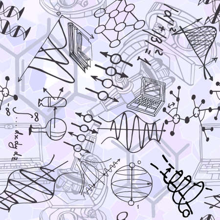 Science seamless pattern with sketch elements related to physics and chemistry. Vector background with parts of decorative graphs, books, computers. Hand drawn.