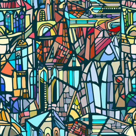 Vector seamless pattern with abstract fantasy Gothic city. Background with decorative Gothic roofs, windows and towers. Stained glass texture. Hand drawn.