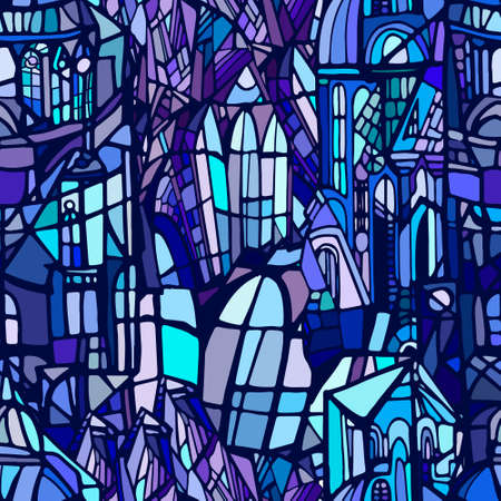 Vector seamless pattern with abstract fantasy night Gothic city. Stained glass texture. Hand drawn.