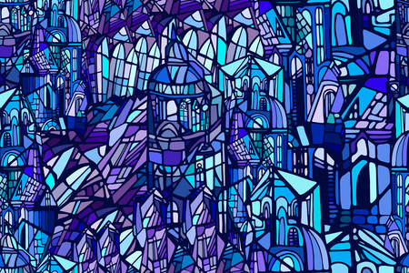 Vector seamless pattern with abstract fantasy Gothic city. Stained glass texture. Hand drawn.
