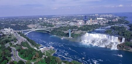 Aerial wide view of the Bridge and natural waterfalls Stock Photo