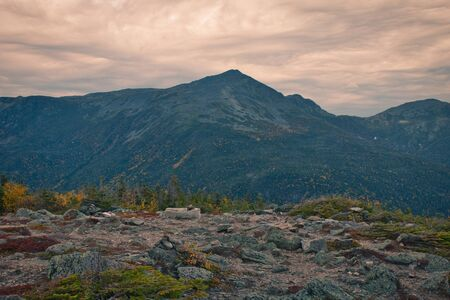 Beautiful landscape pictures during the autumn season from Mount Washington in New Hampshire, USA. Approximately 6300 ft elevation. Notorious erratic weather
