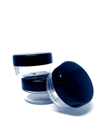 Set of 3 black clear empty containers for skin care cosmetics or food storage