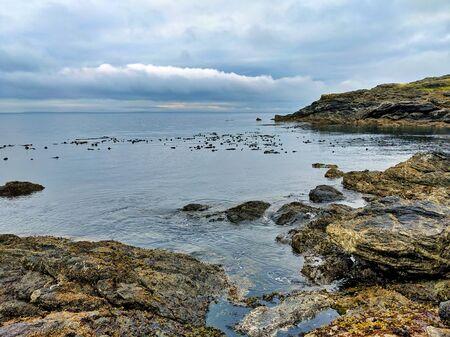 星期五港口岩石沿海海岸线在圣胡安海岛,wa,在阴暗天