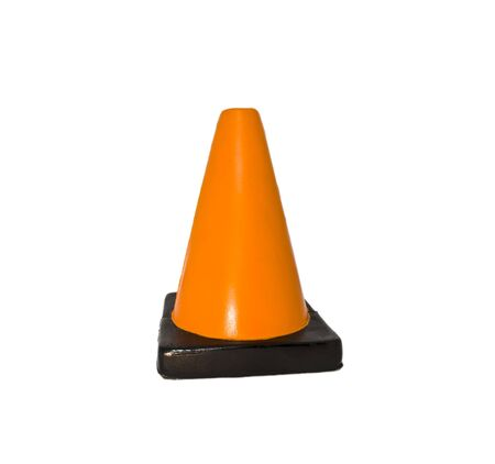 Soft foam, squishy traffic cone on a white background