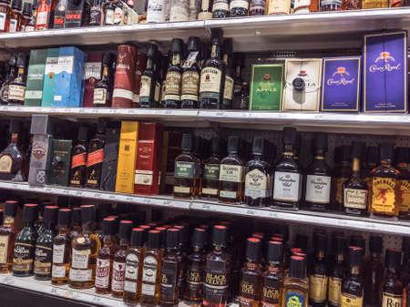 Woodinville, WA  USA - circa February 2020: View of a liquor shelf inside of a Target grocery store.