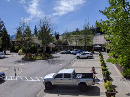 Snoqualmie, WA / USA - circa May 2020: High angle view of Salish Lodge and Spa at Snoqualmie Falls.