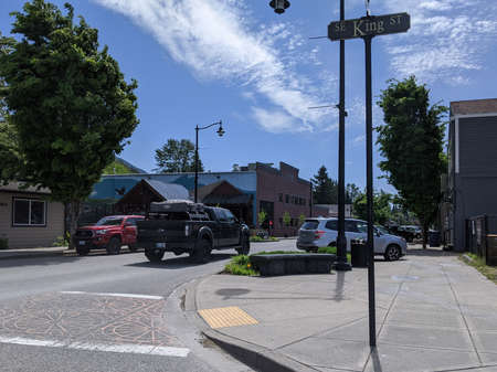 Snoqualmie, WA / USA - circa May 2020: Street view of King Street in historic downtown Snoqualmie.