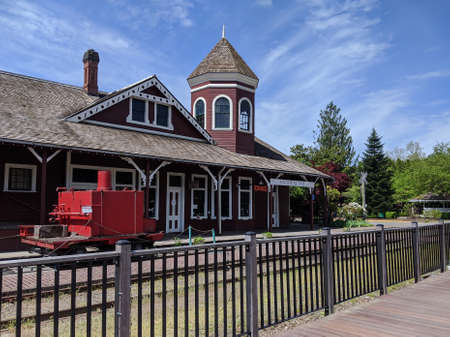 Snoqualmie, WA / USA - circa May 2020: View of the downtown, historic Snoqualmie Railway Museum.
