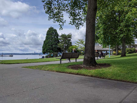 Kirkland, WA / USA - circa July 2020: People walking by the beach at the Kirkland Marina at Lake Washington, ducks and a large gazebo in the background.