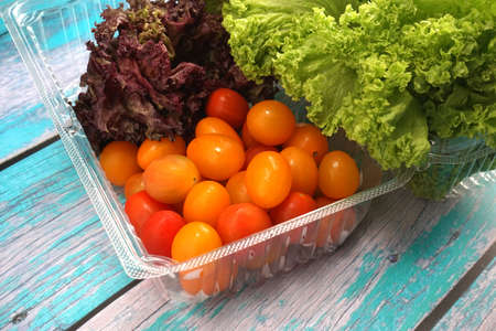 Tomato cherry with green and red leaf lettuce on plastic container. Fresh ingredient for making healthy salad and sandwiches Reklamní fotografie