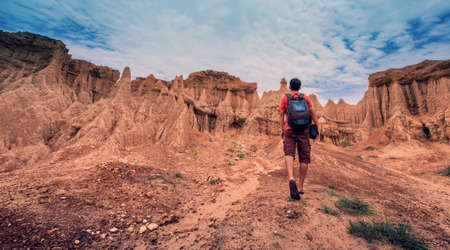thailand: A man walking to canyon, Sao Din Nanoi, Nan, Thailand