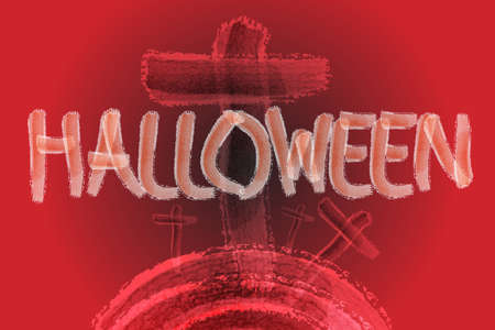 Halloween letter paint with water color brush on red tone background with cross rood Stock Photo