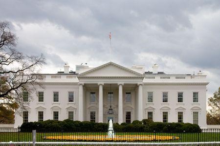 De voorzijde van het witte huis in Washington, DC