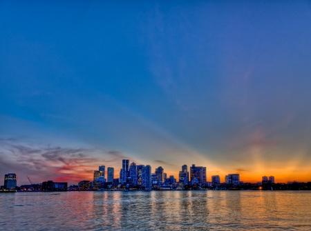 Boston Skyline bei Sonnenuntergang