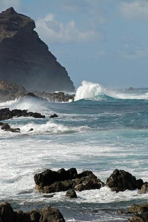 rough sea: Holyhead breakwater of the island tenerife