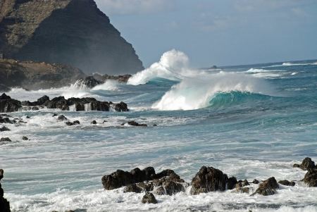 rough sea: Holyhead breakwater of the island tenerife
