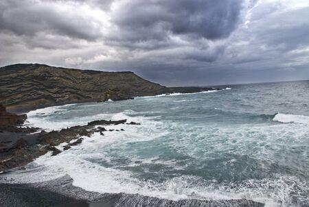 golfo: Scenic view of volcanic El Golfo island coastline