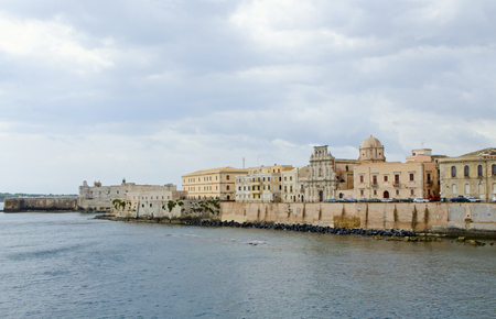 siracuse: View on Castello Maniace and embankment in Syracuse Stock Photo