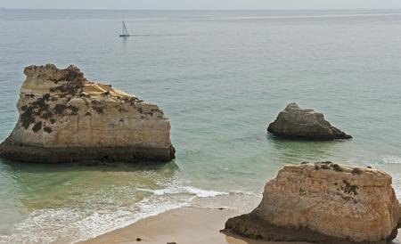 algarve: Praia Tres Irmaos in Alvor Algarve Portugal. Stock Photo