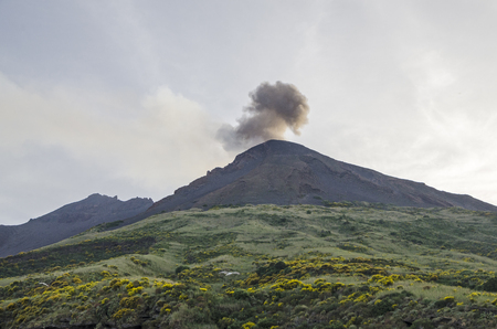 aeolian: One of Aeolian Islands with active crater Stromboli, south Italy.