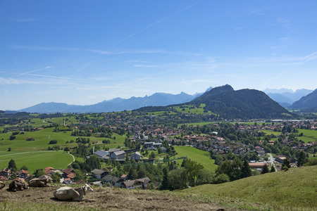 View of the idyllic Village of Pfronten in Allgaeu, Bavaria, Germany Stock Photo