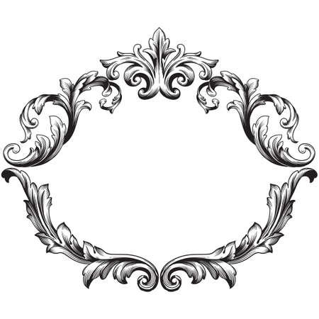 Weinlese barocken Rahmen Scroll Ornament Gravur Grenze floral Retro-Muster im antiken Stil Akanthus Laub wirbeln dekorativ element filigran Kalligraphie Vektor | Damast - Vektorgrafik