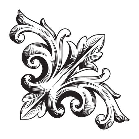 Vintage baroque frame scroll ornament engraving border floral retro pattern antique style acanthus foliage swirl decorative design element filigree calligraphy vector | damask - stock vector Stock Photo