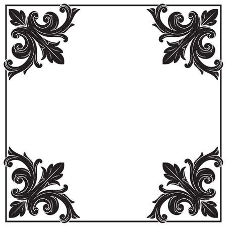 scroll border: Vintage baroque frame scroll ornament engraving border floral retro pattern antique style acanthus foliage swirl decorative design element filigree calligraphy vector | damask - stock vector Stock Photo